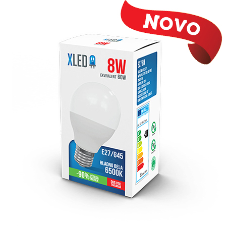 Xled E27 8W G45 6500K HB 01
